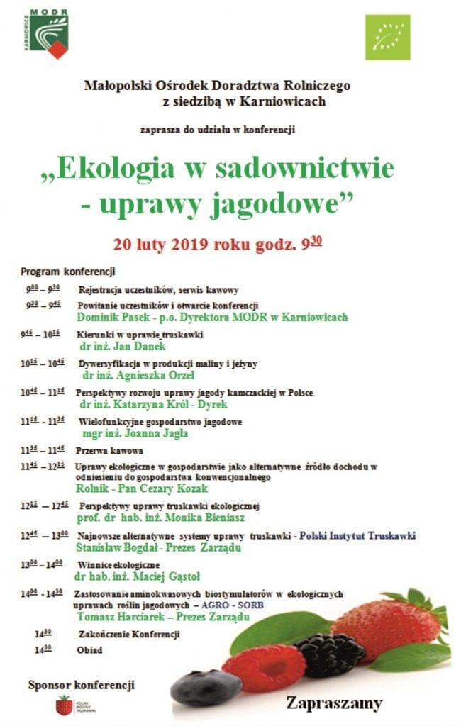 Konferencja nt. owoców jagodowych - 20.02, Karniowice k/Krakowa - plakat